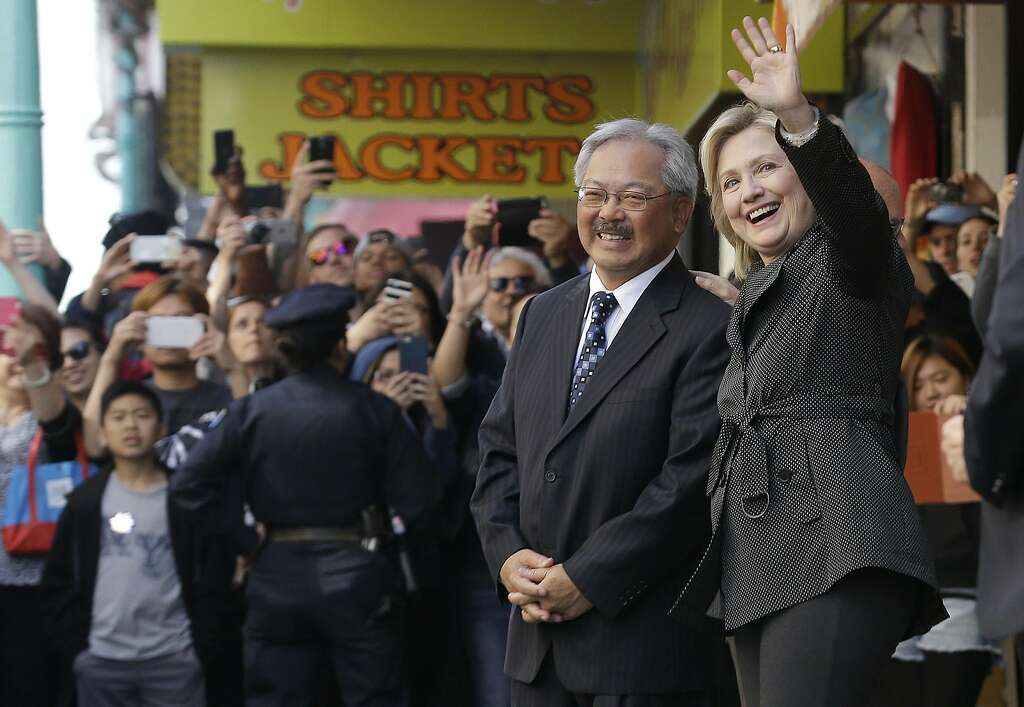 Democratic Presidential Candidate Hillary Rodham Clinton, Right, Waves Next  To San Francisco Mayor Ed