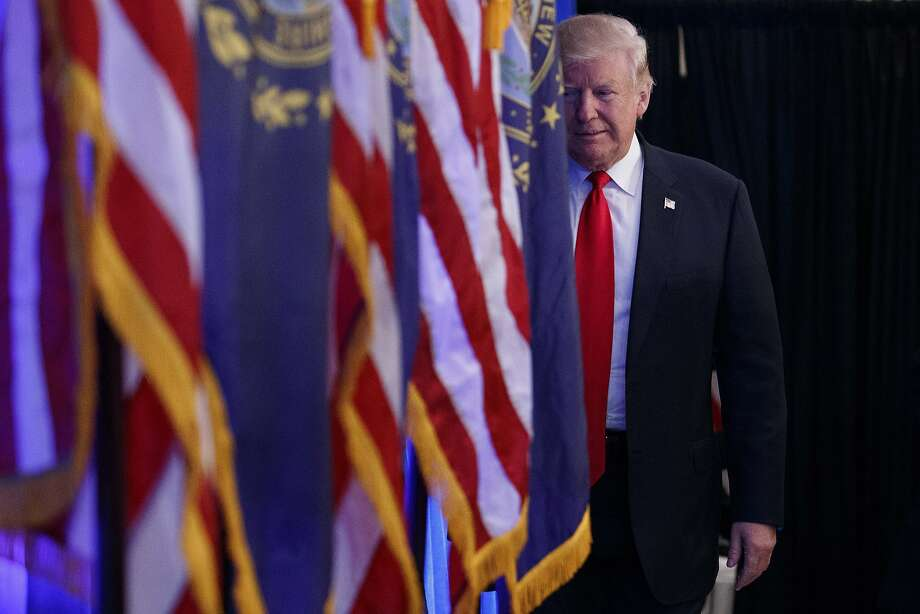 Republican presidential candidate Donald Trump arrives to speak during a campaign rally, Friday, Nov. 4, 2016, in Atkinson, N.H. (AP Photo/ Evan Vucci) Photo: Evan Vucci, Associated Press