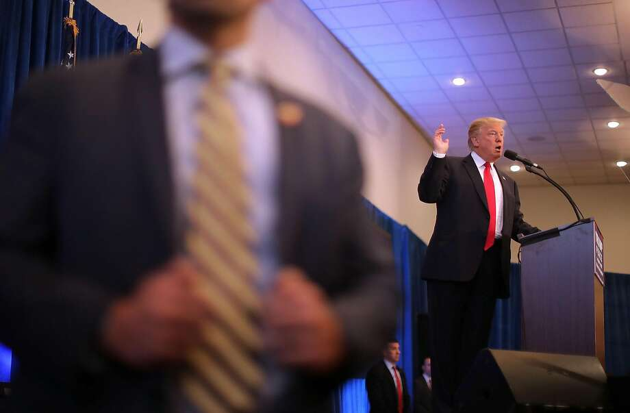 Republican presidential nominee Donald Trump holds a campaign rally in Atkinson, N.H., directed at firing up his white, working-class supporters. Photo: Chip Somodevilla, Getty Images