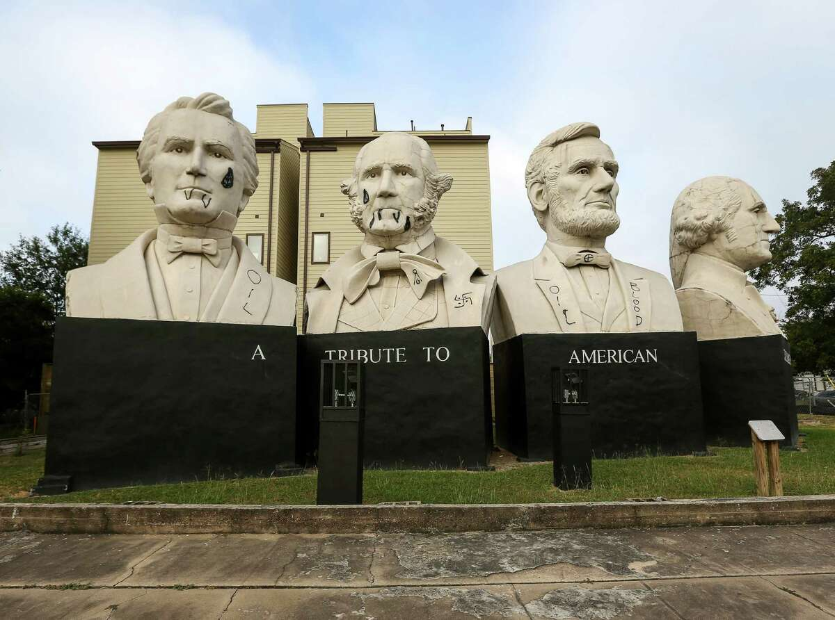 Statues of the American Statesmanship Park were vandalized overnight, Friday, Nov. 4, 2016, in Houston.