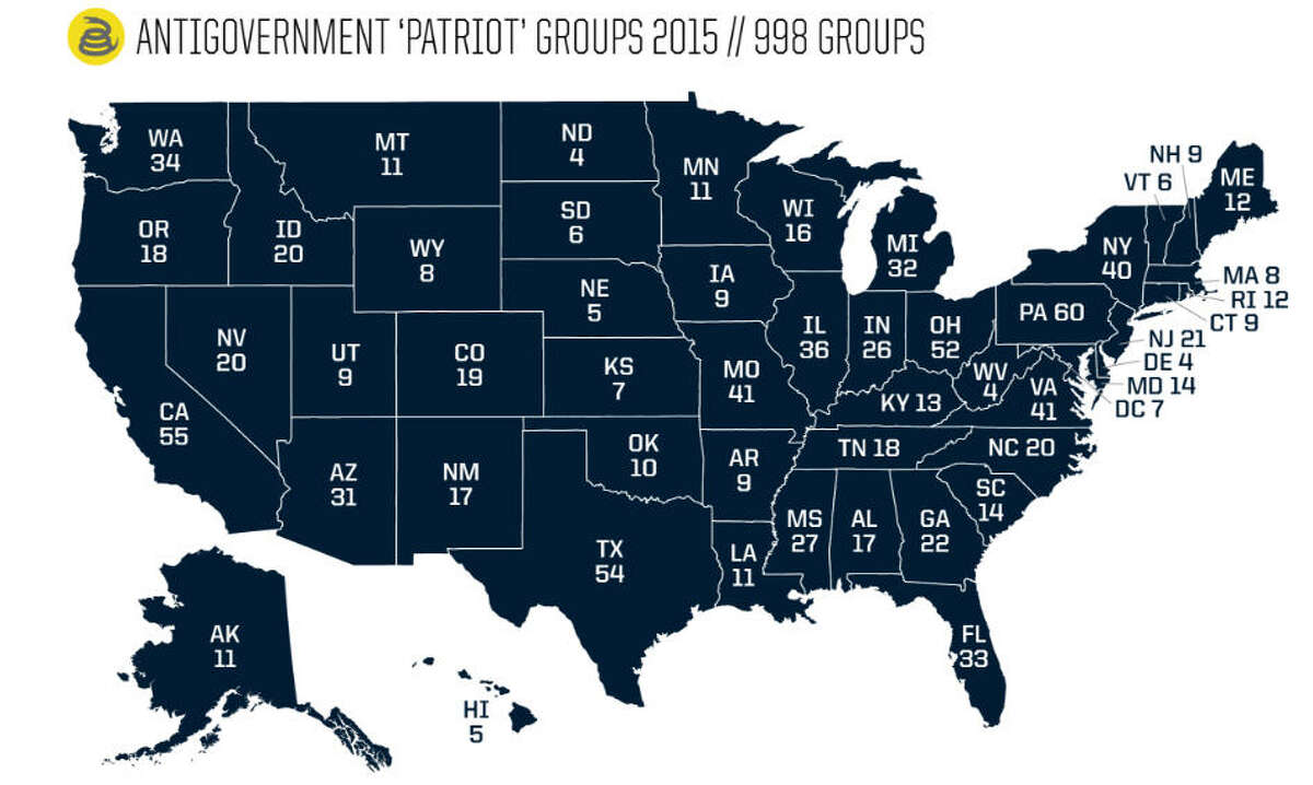 Where they are This map shows the number of antigovernment groups in the United States in 2015. Of the 998 groups, 276 were militias. In 2008, when Barack Obama was elected president, the Southern Poverty Law Center identified 42 militia groups. By 2010, the number had grown to 330. It fell to 202 in 2014 but is on the rise again.