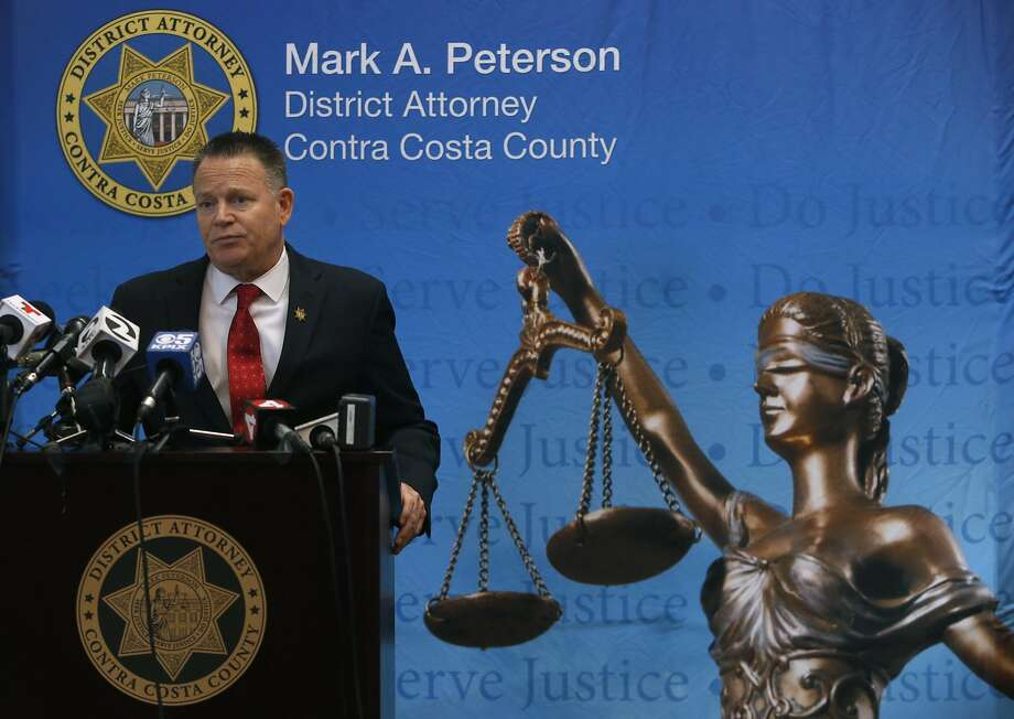 Citing a lack of evidence, Contra Costa County District Attorney Mark Peterson announces at a news conference in Martinez, Calif. on Friday, Nov. 4, 2016 that no charges will be filed against any current law enforcement officers in an East Bay sex case. Peterson added that any sexual contact between the officers and a woman known as Jasmine appeared to be consensual and no money was exchanged. Photo: Paul Chinn, The Chronicle