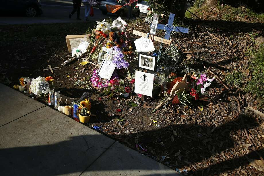 A memorial for Thomas Hooker is seen along Funston Avenue in San Francisco. Hooker was homeless, lived on the street for 20 years and died in his sleep at his campsite. Photo: Lea Suzuki, The Chronicle