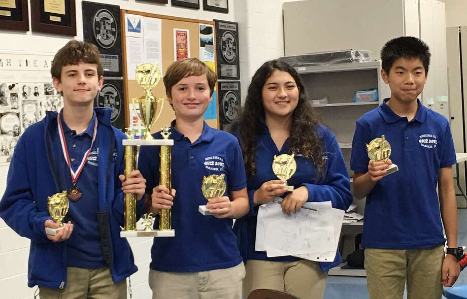 Middlesex Middle School's Quiz Bowl A Team, eight- graders Alex DelVecchio, Fin Kehrli, Iman Onbargi and Nick Liu, from left, won the Bergen Academies Junior Academic Challenge in Hackensack, N.J. Photo: Contributed Photo