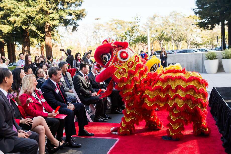 The grand opening of AIG's San Mateo office last month a lion dance. Photo: AIG