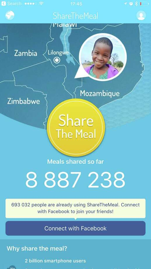 Screenshots, from left, of ShareTheMeal,  Charity Miles and Donate a Photo apps. Photo: HANDOUT, HO / HANDOUT