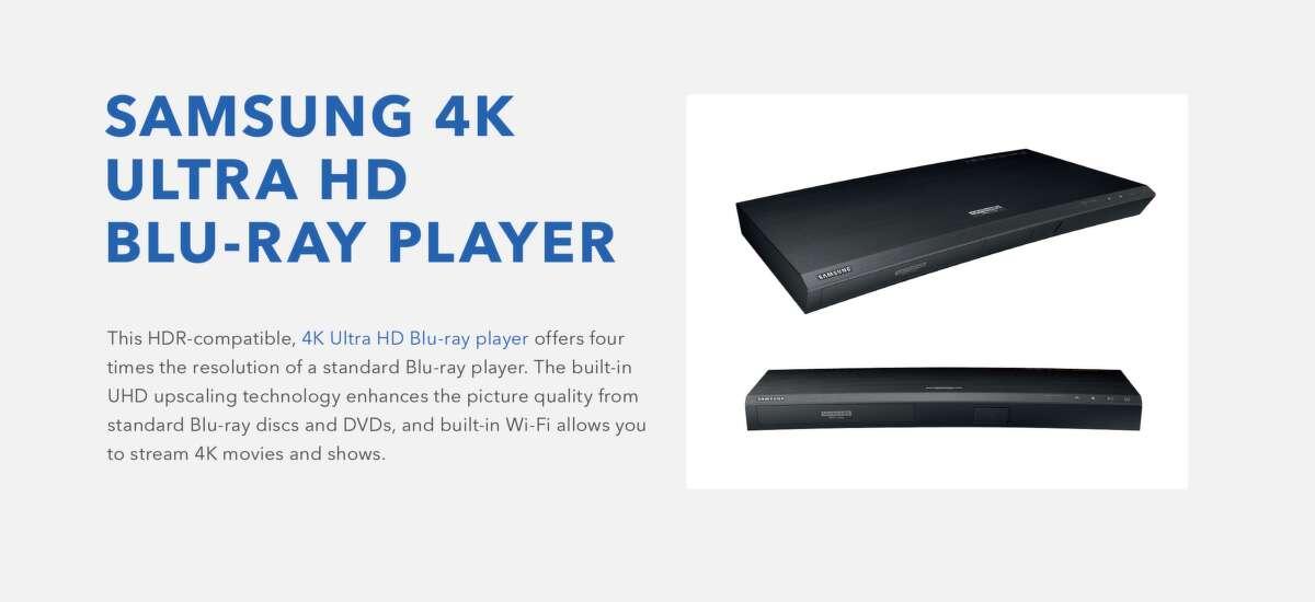 Samsung Blu-Ray player, $249.99.