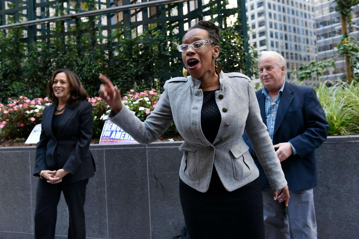 BART board director Lateefah Simon speaks during a San Francisco rally with Kamala Harris in 2016.