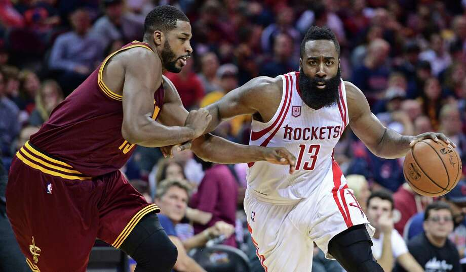 Houston Rockets guard James Harden (13) drives on Cleveland Cavaliers forward Tristan Thompson (13) in the second half of an NBA basketball game Tuesday, Nov. 1, 2016, in Cleveland. The Cavaliers won 128-120. (AP Photo/David Dermer) Photo: David Dermer, FRE / AP 2016