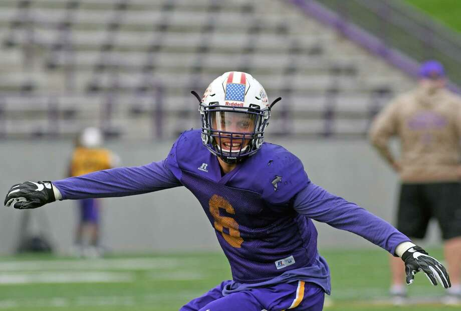 UAlbany football linebacker Julian Cox during practice on Wednesday Nov. 2, 2016 in Albany, N.Y.  (Michael P. Farrell/Times Union) Photo: Michael P. Farrell / 20038635A