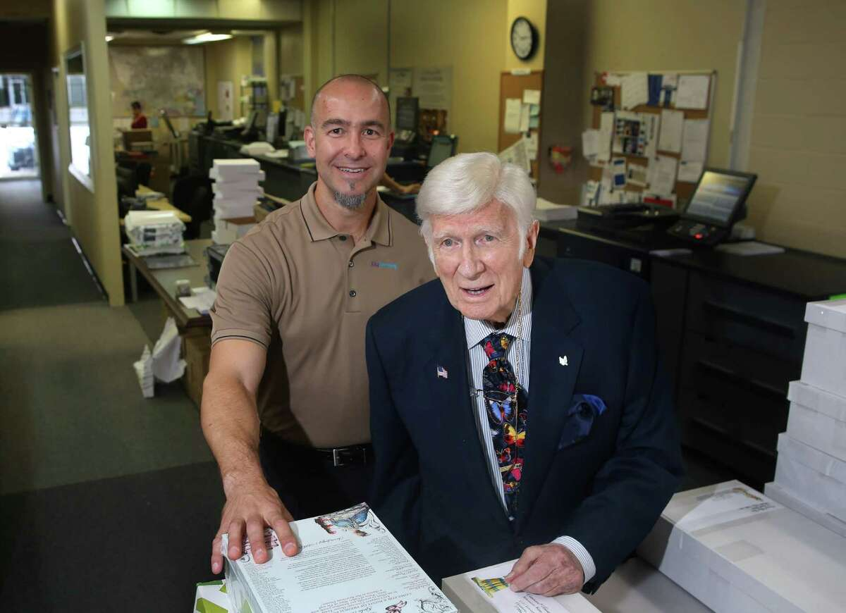 """JitaPrinting founder and CEO Jeff Offutt with his mentor, William """"Bill"""" Spitz, inside Offutt's printing business Tuesday, Oct. 25, 2016, in Houston. Offutt spent his much of his early adult life working in the printing business until his career was interrupted by two stints in prison. After participating in the Prison Entrepreneurship Program while serving his time, Offutt started working in the printing industry after his release and ended up starting his own business. The mentorship with Bill Spitz through Silver Fox Advisors has helped grow the business into what it is today. ( Mark Mulligan / Houston Chronicle )"""