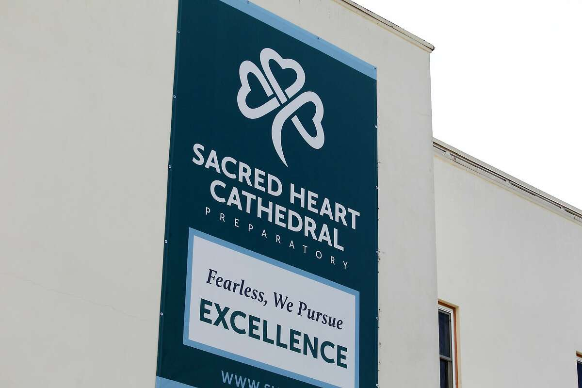 Sacred Heart Cathedral Preparatory sign hangs on the outside wall of the school building on Friday, May 16, 2014 in San Francisco, Calif.