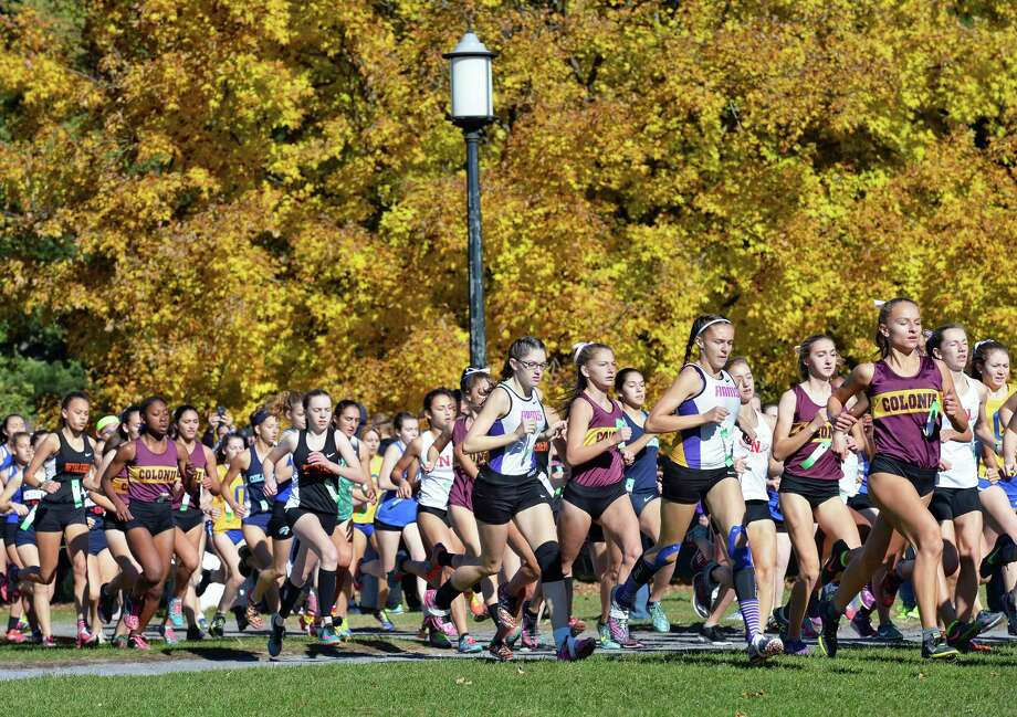 Start of the Class A girls race during the Section II cross country championships at Saratoga Spa State Park Friday Nov. 4, 2016 in Saratoga Springs, NY.  (John Carl D'Annibale / Times Union) Photo: John Carl D'Annibale / 20038667A