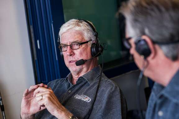 Mike Krukow, long-time television color commentator for the San Francisco Giants, broadcasting live during a game against the Phillies at Citizen's Bank Park in Philadelphia, PA, on July 21, 2014.