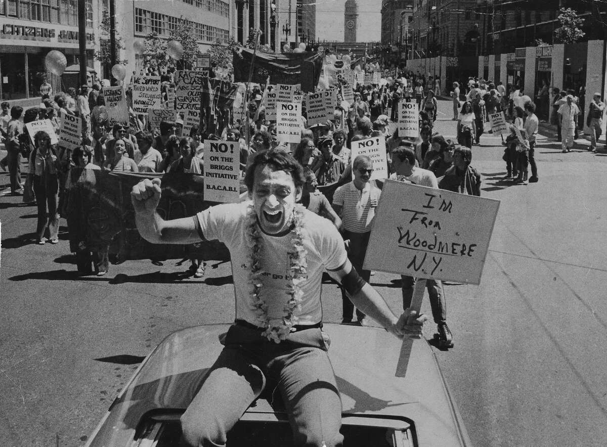 June 23, 1978: Harvey Milk at the parade four months before his assassination.