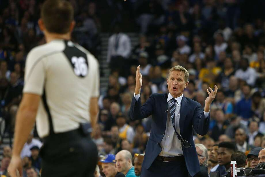 OAKLAND, CA - NOVEMBER 03:  Head coach Steve Kerr of the Golden State Warriors talks to the referee during a game against the Oklahoma City Thunder at ORACLE Arena on November 3, 2016 in Oakland, California. NOTE TO USER: User expressly acknowledges and agrees that, by downloading and or using this photograph, user is consenting to the terms and conditions of Getty Images License Agreement. (Photo by Lachlan Cunningham/Getty Images) Photo: Lachlan Cunningham, Getty Images
