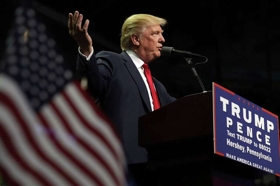 """Republican presidential nominee Donald Trump holds a campaign rally at the Giant Center on Friday in Hershey, Pennsylvania. Last time he was in the state, he encouraged people to watch voting in """"certain areas."""" Photo: Chip Somodevilla, Staff / 2016 Getty Images"""