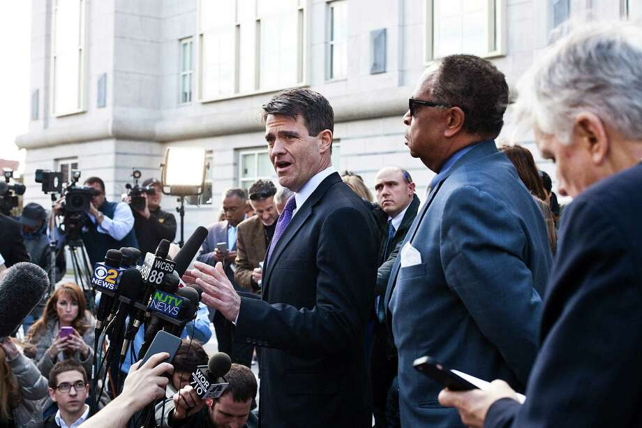 Bill Baroni, once Gov. Chris Christie's top appointee at the Port Authority, speaks to reporters after a verdict was delivered in his trial over the George Washington Bridge lane closures, in Newark, N.J., Nov. 4, 2016. A federal jury convicted Baroni and Bridget Anne Kelly, a former deputy chief of staff to Christie, on Friday over a bizarre scheme to close access lanes to the bridge as punishment against a mayor who declined to endorse the governor's re-election. (Bryan Anselm/The New York Times) ORG XMIT: XNYT35 Photo: BRYAN ANSELM / NYTNS
