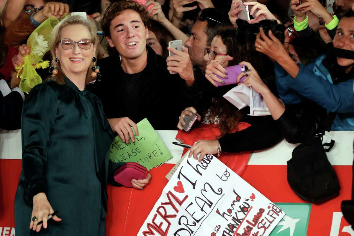 """Actress Meryl Streep poses for photographers as she arrives for the screening of the movie """"Florence Foster Jenkins"""", at the Rome Film Festival, in Rome, Thursday, Oct. 20, 2016. (AP Photo/Andrew Medichini) ORG XMIT: AJM133"""
