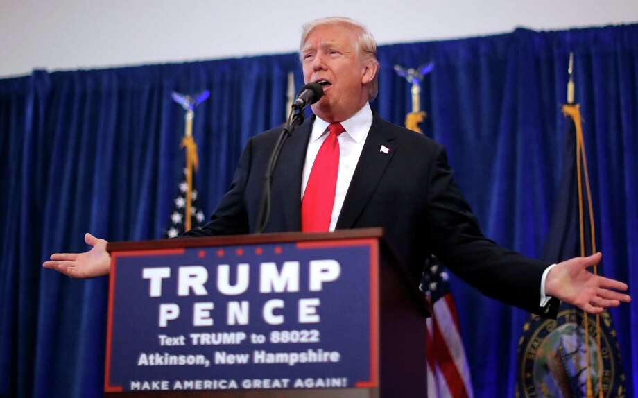 ATKINSON, NH - NOVEMBER 04:  Republican presidential nominee Donald Trump holds a campaign rally at the Atkinson Country Club November 4, 2016 in Atkinson, New Hampshire. With less than a week before Election Day in the United States, Trump and his opponent, Democratic presidential nominee Hillary Clinton, are campaigning in key battleground states that each must win to take the White House.  (Photo by Chip Somodevilla/Getty Images) ORG XMIT: 680522753 Photo: Chip Somodevilla / 2016 Getty Images