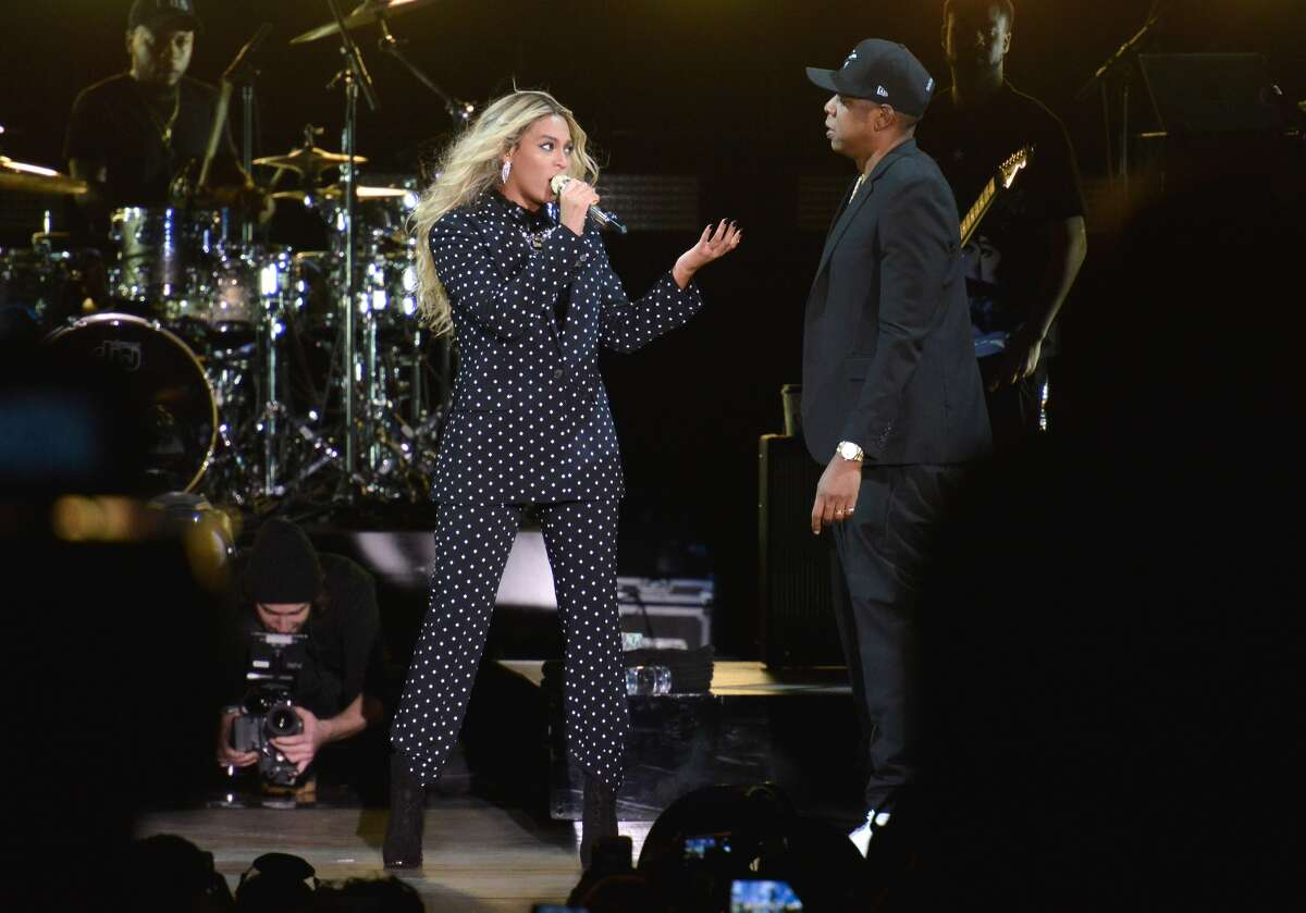 Beyoncé and Jay Z perform at a Get Out The Vote concert in support of Hillary Clinton in Cleveland, Ohio, on Friday.
