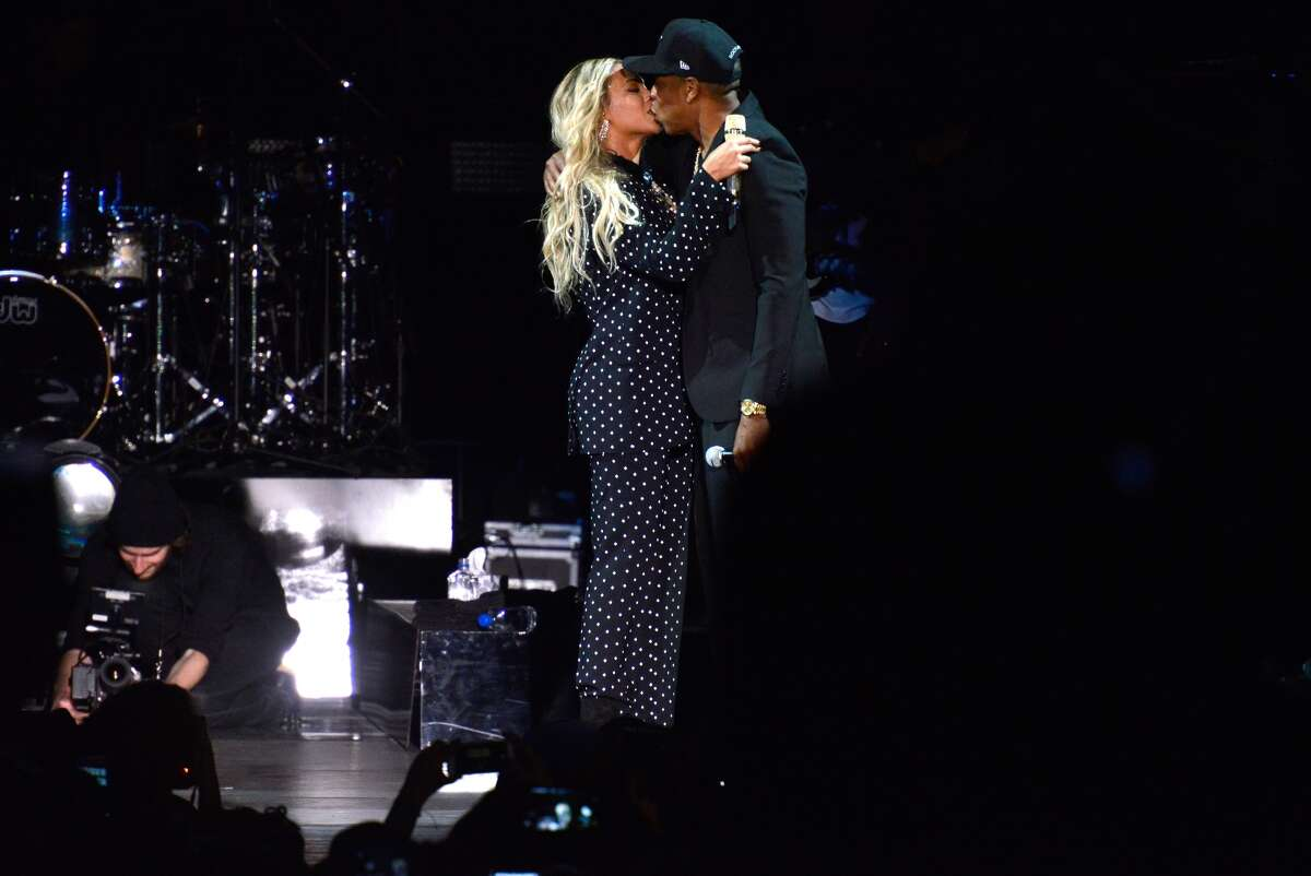 Beyoncé and and Jay Z perform at a Get Out The Vote concert in support of Hillary Clinton in Cleveland, Ohio, on Friday.