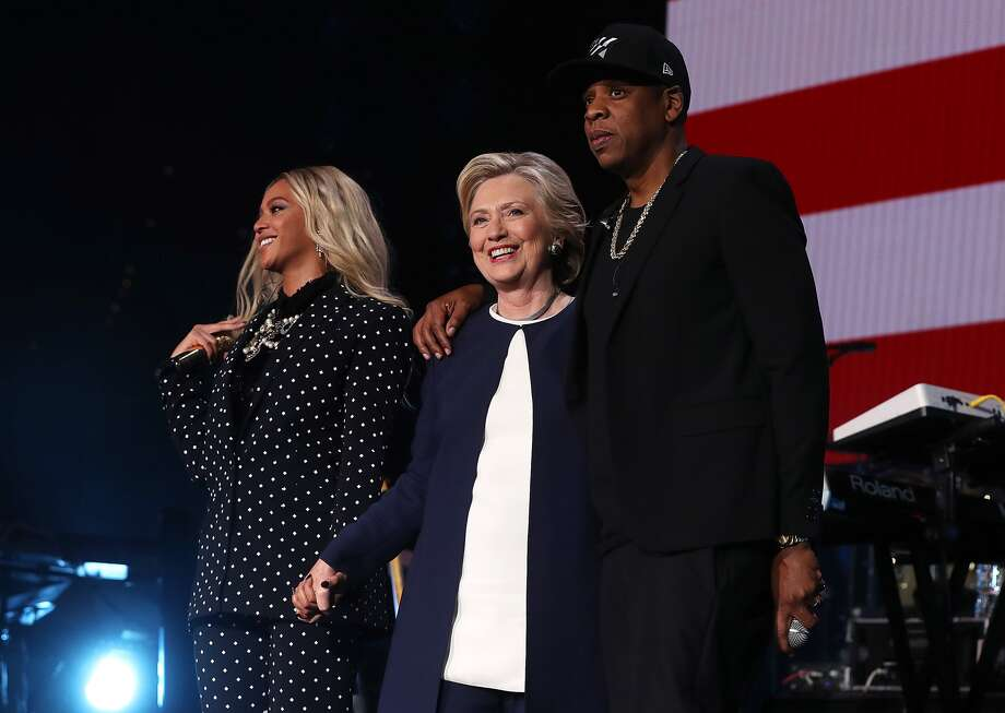 Beyoncé, Hillary Clinton and Jay Z at the Get Out The Vote concert in Cleveland, Ohio, on Friday. Photo: Justin Sullivan, Getty Images
