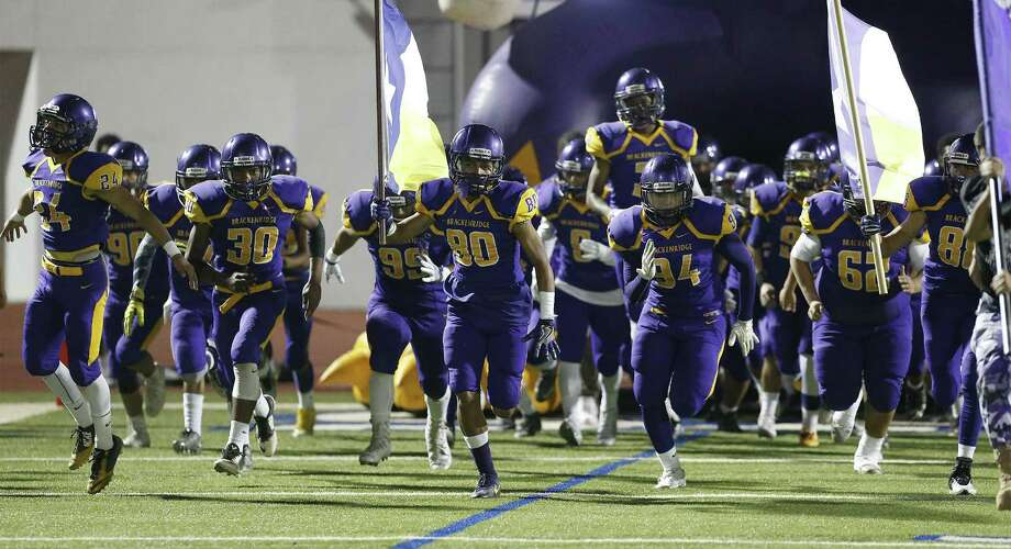 The Brackenridge football team takes the field against Highlands for their game at Alamo Stadium on Friday, Nov. 4, 2016. (Kin Man Hui/San Antonio Express-News) Photo: Kin Man Hui, Staff / San Antonio Express-News / ©2016 San Antonio Express-News