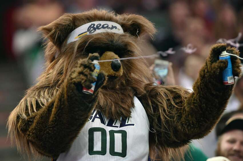 SALT LAKE CITY, UT - NOVEMBER 04: The Utah Jazz mascot Jazz Bear attacks the crowd with silly string in the second half of the San Antonio Spurs 100-86 win over the Utah Jazz at Vivint Smart Home Arena on November 4, 2016 in Salt Lake City, Utah. NOTE TO USER: User expressly acknowledges and agrees that, by downloading and or using this photograph, User is consenting to the terms and conditions of the Getty Images License Agreement. (Photo by Gene Sweeney Jr/Getty Images)