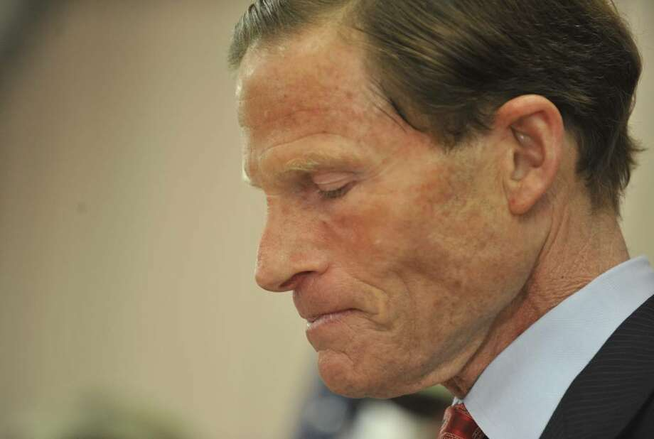 Connecticut Attorney General and Democratic candidate for U.S. Senate Richard Blumenthal pauses as he addresses a report that he has misstated his military service during the Vietnam War at a news conference in West Hartford, Conn., Tuesday, May 18, 2010.  (AP Photo/Jessica Hill) Photo: Jessica Hill, AP / AP2010