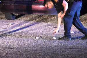 San Antonio police investigate a possible gang-related shooting on the Northeast Side that left four people wounded Saturday morning, Nov. 5, 2016.