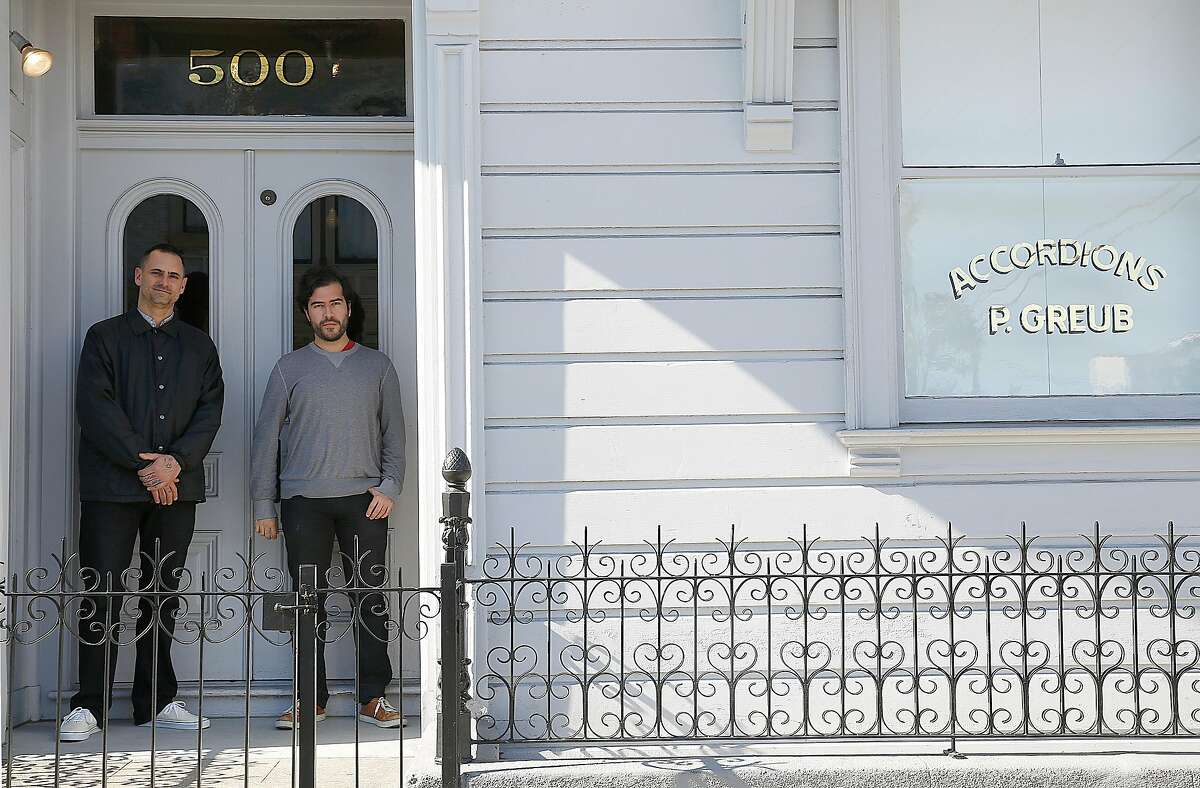 Curators Bob Linder (left) and Diego Villalobos (right) at the entrance to the David Ireland House on Friday, November 4, 2016, in San Francisco, Calif. In its first year as a private museum, the David Ireland House has served 5,000 people on guided tours of 8 for $20 per person.