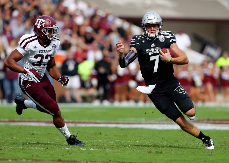 Containing Mississippi State quarterback Nick Fitzgerald (7) will be critical if Texas A&M wants to beat the Bulldogs Saturday night. Photo: Butch Dill, Getty Images / 2016 Getty Images