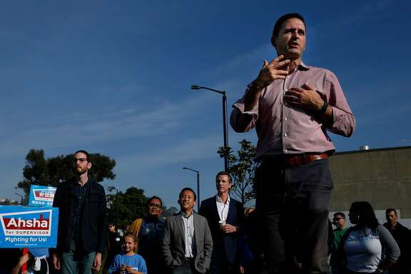 Ahsha Safai, candidate for supervisor in District 11, speaks to supporters during a get-out-the-vote rally at Balboa Park on Saturday, Nov. 5, 2016 in San Francisco, Calif.