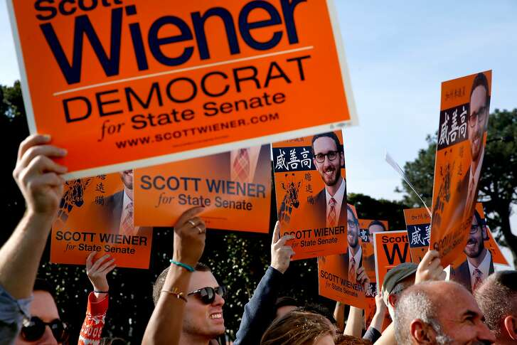 Scott Wiener supporters during a get-out-the-vote rally at Balboa Park on Saturday, Nov. 5, 2016 in San Francisco, Calif.