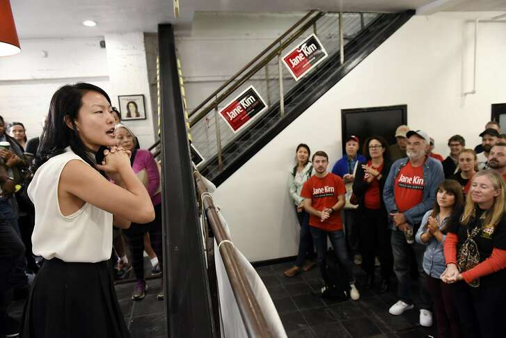 Jane Kim speaks to volunteers and supporters gathered at her state senate campaign offices in San Francisco, CA, November 5, 2016.