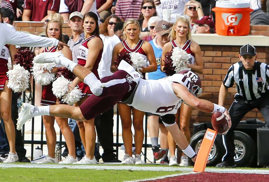 Quarterback Trevor Knight of the Texas A&M Aggies dives in for a touchdown during the first half against the Mississippi State Bulldogs at Davis Wade Stadium on Nov. 5, 2016 in Starkville. Photo: Butch Dill /Getty Images / 2016 Getty Images