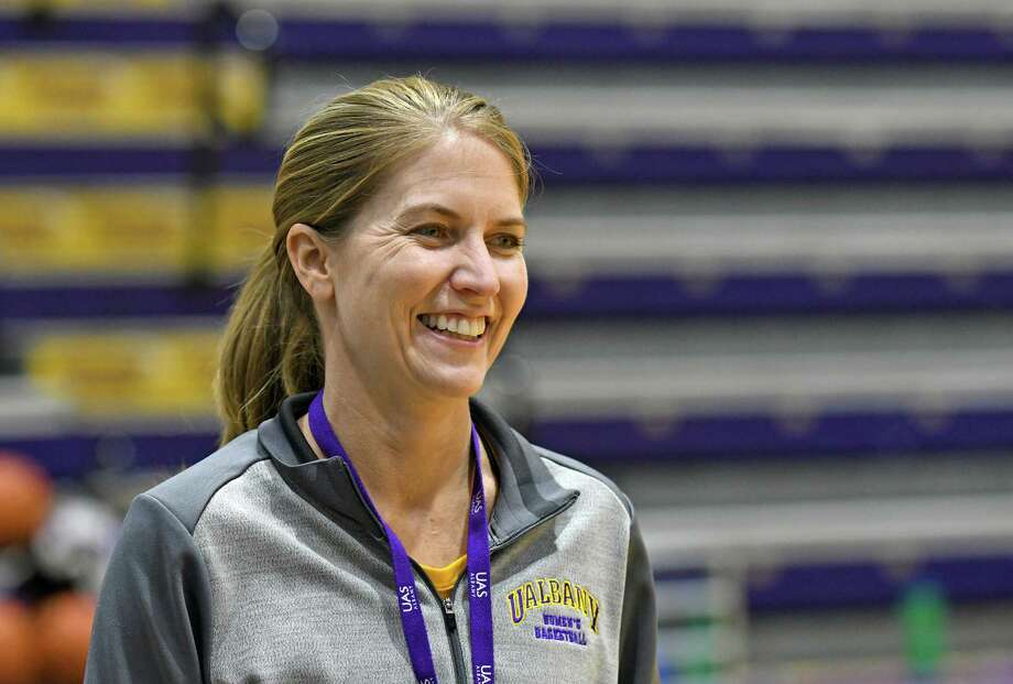 UAlbany women's basketball coach Joanna Bernabei-McNamee during practice on Thursday Nov. 3, 2016 in Albany, N.Y. (Michael P. Farrell/Times Union) Photo: Michael P. Farrell / 20038684A