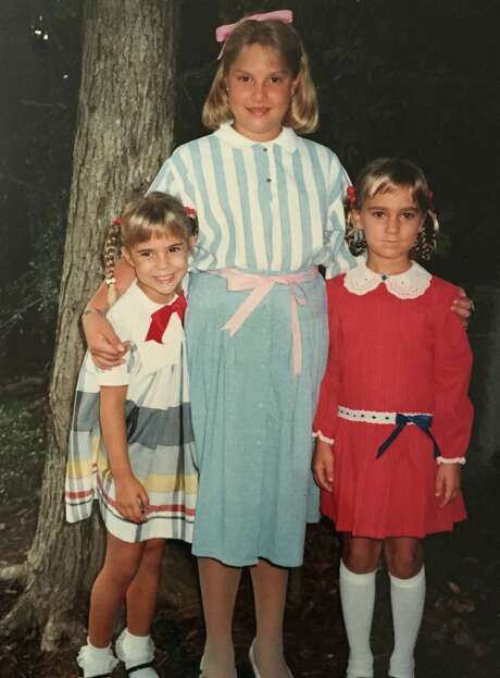 From left, sisters Sarah (Morgan) Redmond and Rebecca (Morgan) Griffin grew up next door to Mindy Finn in Kingwood in the early 1980s. Photo: Morgan Family
