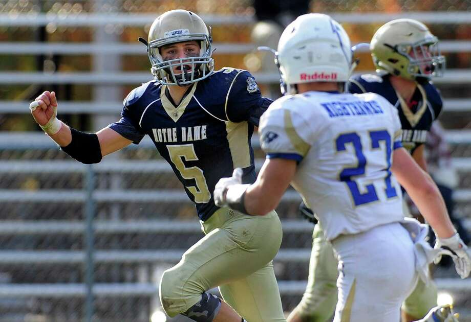 Notre Dame of Fairfield Anthony Emanuel (5) during football action against Newtown in Fairfield, Conn. on Saturday Nov. 5, 2016. Photo: Christian Abraham / Hearst Connecticut Media / Connecticut Post