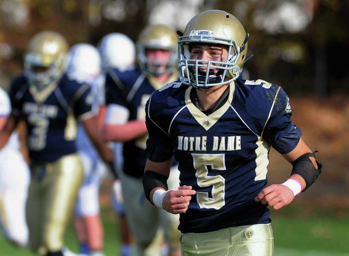 Notre Dame of Fairfield Anthony Emanuel (5) during football action against Newtown in Fairfield, Conn. on Saturday Nov. 5, 2016.