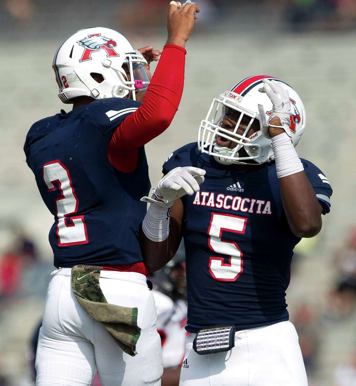 Nov. 5: Atascocita 78, Goose Creek Memorial 0 Atascocita quarterback Daveon Boyd (2) celebrates with Dawud Shorts (5) after the two connected for a 31-yard touchdown during the second quarter of a District 21-6A high school football game at Turner Stadium Saturday, Nov. 5, 2016, in Humble.
