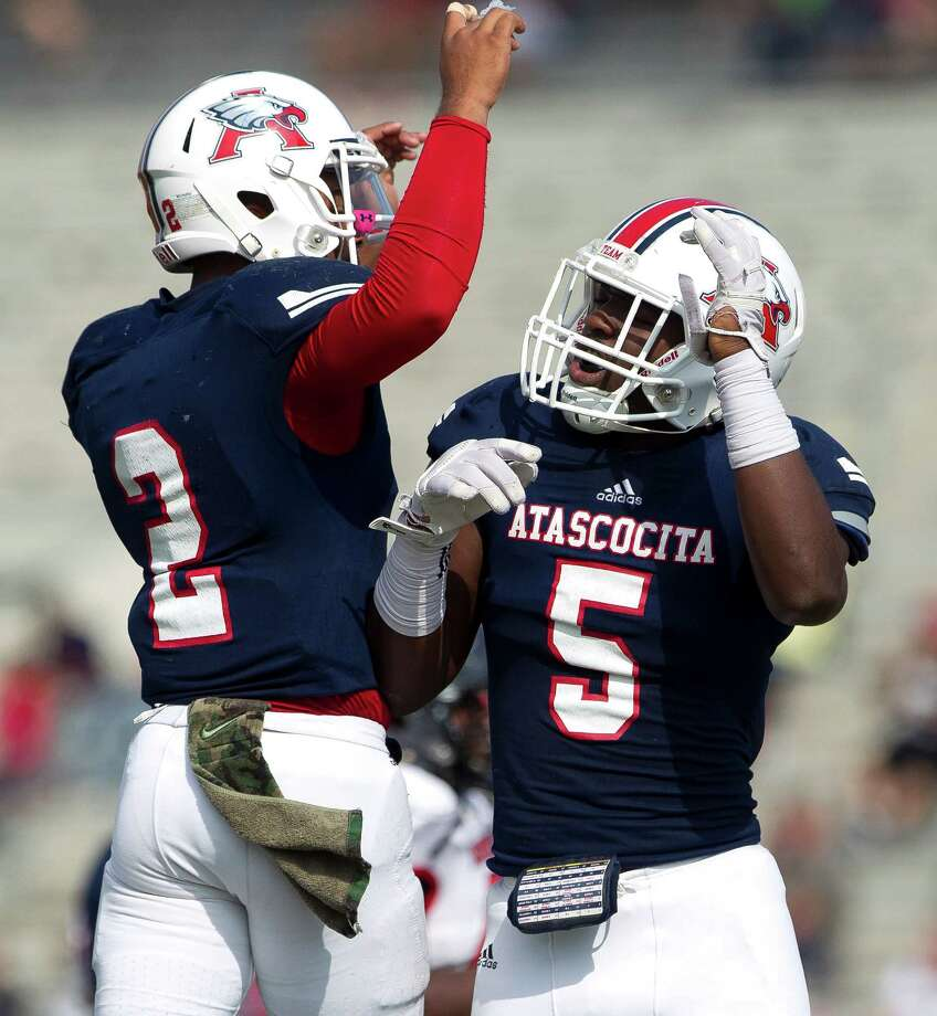 Nov. 5: Atascocita 78, Goose Creek Memorial 0Atascocita quarterback Daveon Boyd (2) celebrates with Dawud Shorts (5) after the two connected for a 31-yard touchdown during the second quarter of a District 21-6A high school football game at Turner Stadium Saturday, Nov. 5, 2016, in Humble. Photo: Jason Fochtman, Houston Chronicle / Houston Chronicle
