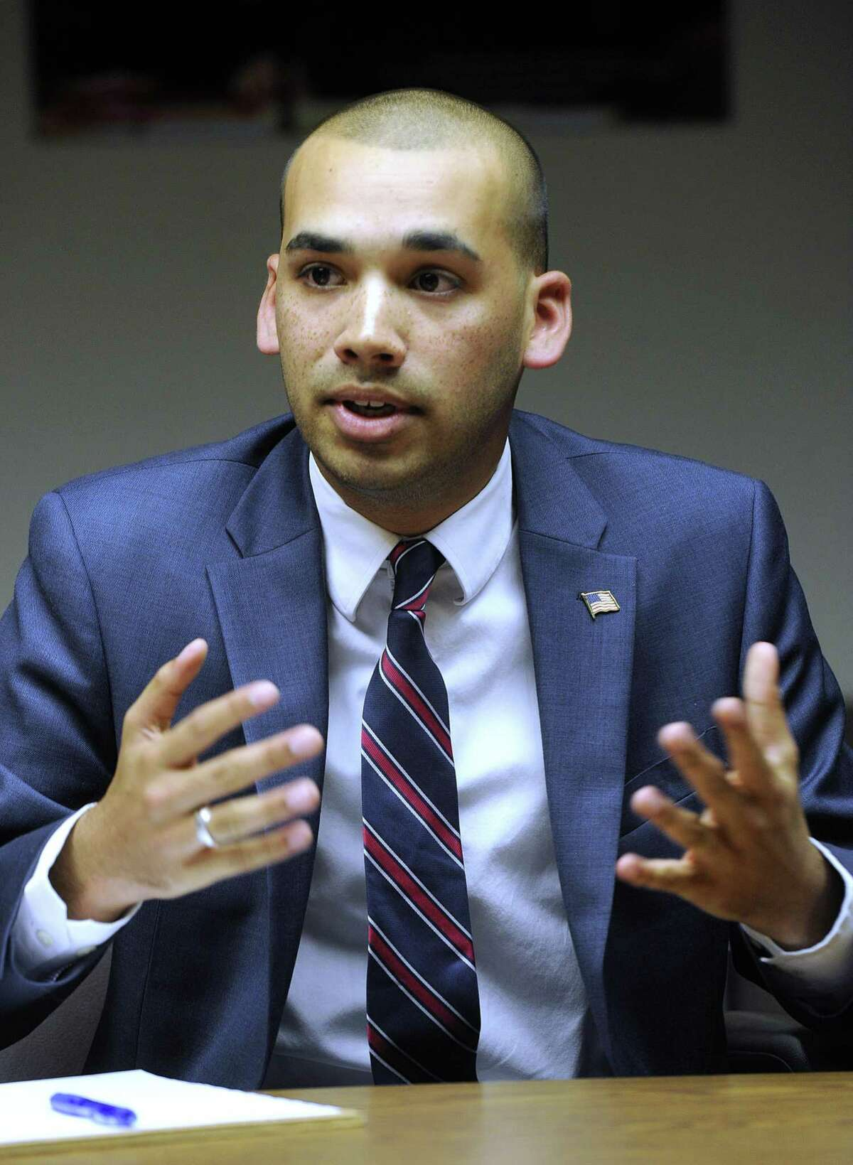 Democrat Raghib Allie-Brennan, pictured, and Republican Will Duff are vying for state Rep. Dan Carter's open seat in District 2. The two met with The News-Times editorial board Thursday, Oct. 6, 2016.