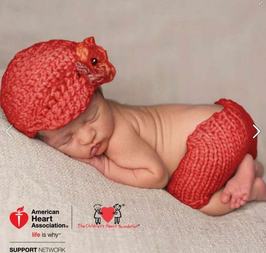 The American Heart Association, in connection with The Children's Heart Foundation, is asking knitting and crocheting enthusiasts to help celebrate American Heart Month by knitting and crocheting red hats for babies born in February at participating hospitals. Photo courtesy of the American Heart Association. Photo: Contributed / Contributed