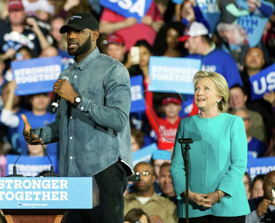 Cleveland Cavaliers star LeBron James campaigns with Hillary Clinton on Sunday in Ohio. Photo: Phil Long, FRE / FR53611 AP