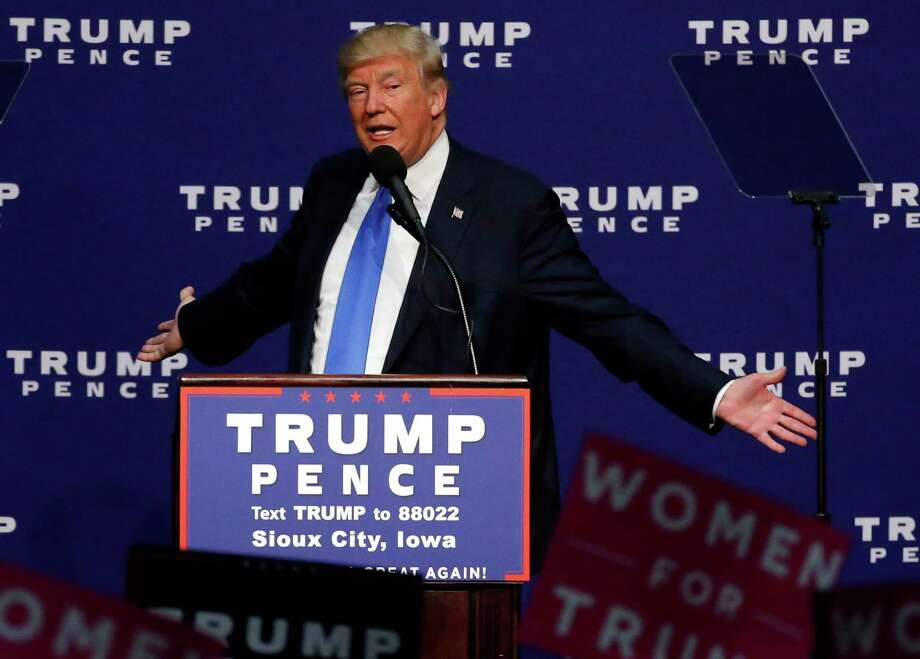 Donald Trump speaks at a rally in Sioux City, Iowa, the first stop in a five-state swing Sunday. Photo: Brennan Linsley, STF / Copyright 2016 The Associated Press. All rights reserved.
