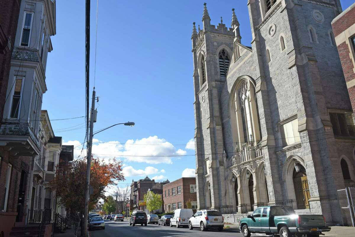 The former St. Patrick's Roman Catholic Church and rectory now owned by the Albany Episcopal Diocese on Friday Nov. 4, 2016 in Troy, N.Y. Rev. Nellis Tremblay, who served at St. Patrick's,is accused of sexually abusing a minor. (Michael P. Farrell/Times Union)