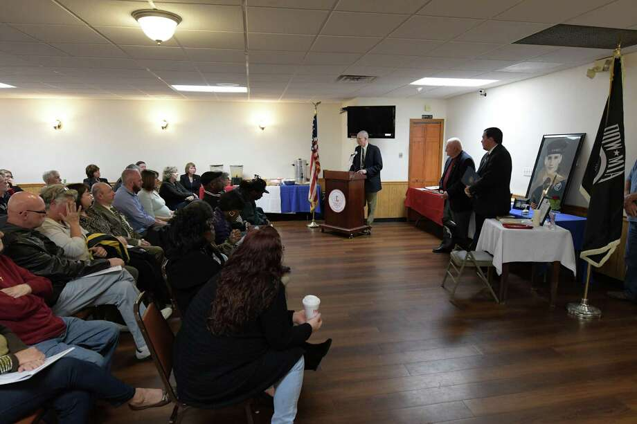 Veterans and their families and friends attend the Veterans Breakfast 2016 at the Veterans of Lansingburgh on Sunday, Nov. 6, 2016, in Troy, N.Y.  The veterans were awarded medals that they earned but for various reasons had never been awarded.    ?  (Paul Buckowski / Times Union) Photo: PAUL BUCKOWSKI / 20038703A