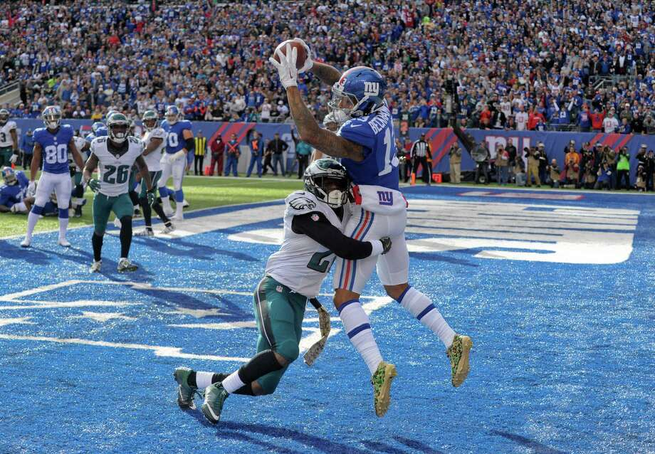 Giants wide receiver Odell Beckham Jr. (13) beats Eagles cornerback Leodis McKelvin to catch one of his two touchdown passes in the second quarter of New York's 28-23 victory at East Rutherford, N.J. Photo: Bill Kostroun, FRE / FR51951 AP